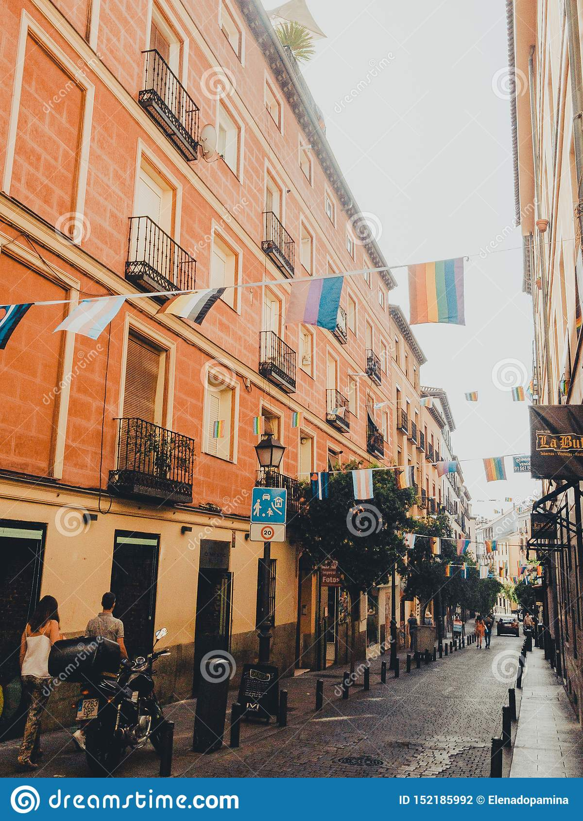 CHUECA,MADRID, SPAIN - JUNE 28, 2019: The streets of the city of Madrid are preparing to receive the gay pride 2019MADRID, SPAIN