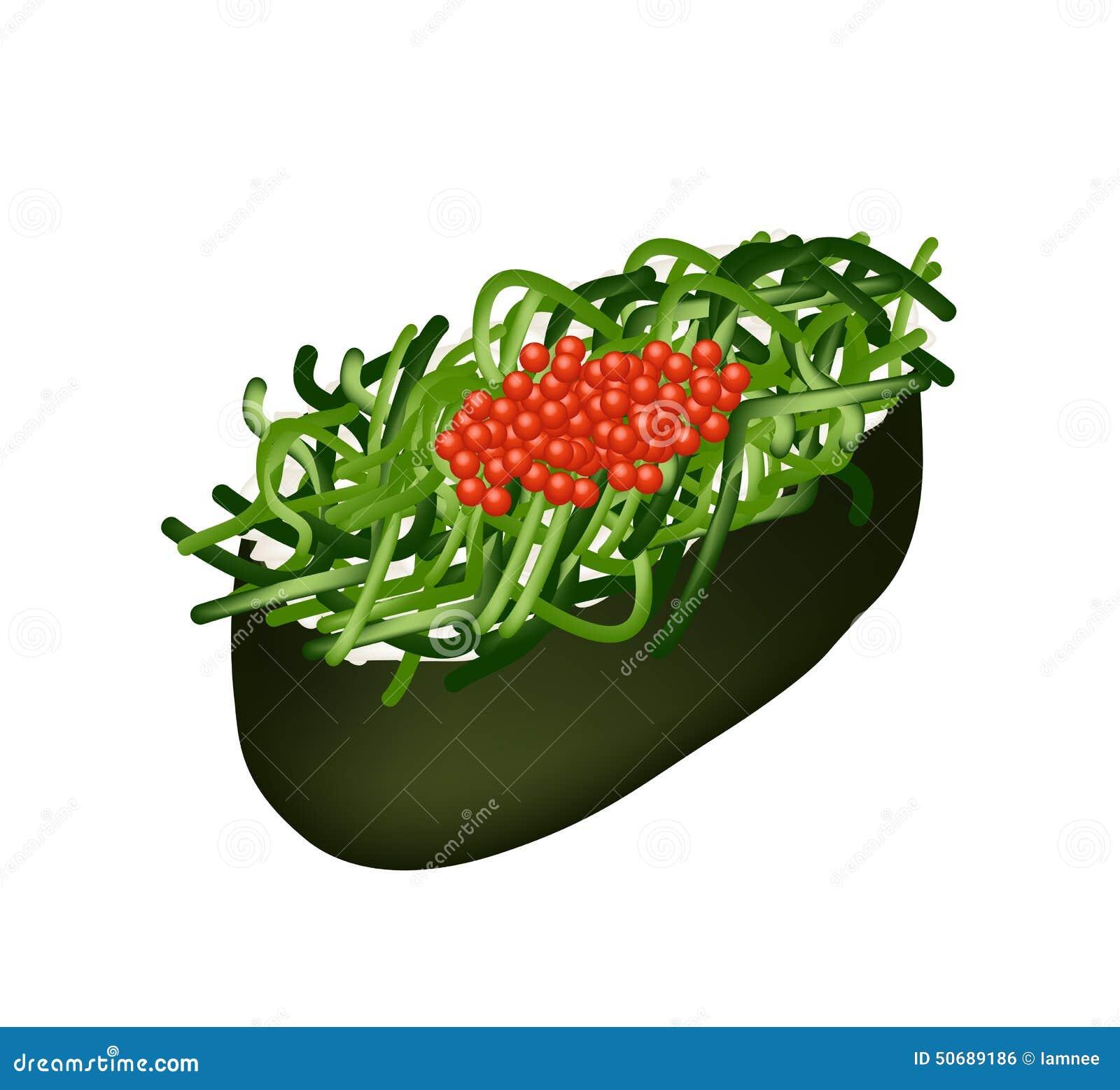 Download Chuka Wakame海草与Tobiko獐鹿的沙拉寿司 向量例证 - 插画 包括有 鸡蛋, 营养素: 50689186