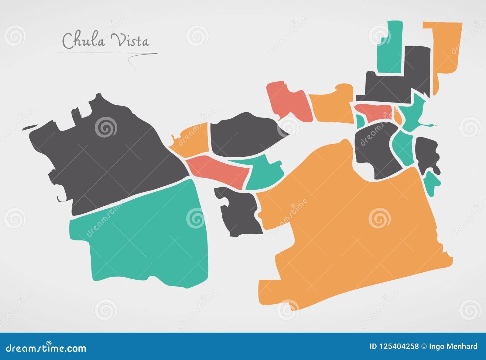 Chula Vista California Map With Neighborhoods And Modern Round S
