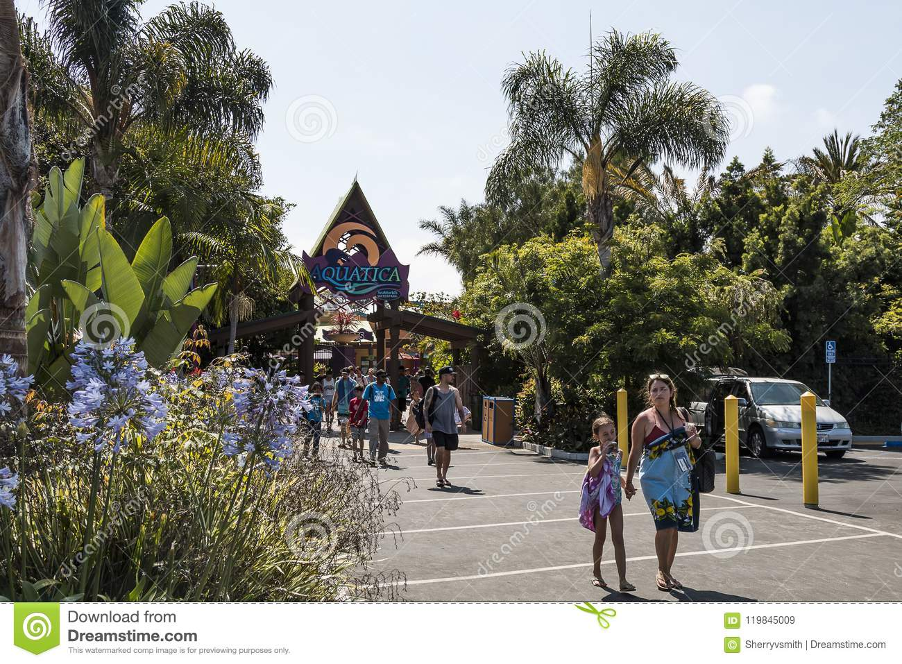 People Exit Aquatic Water Park In San Diego, California
