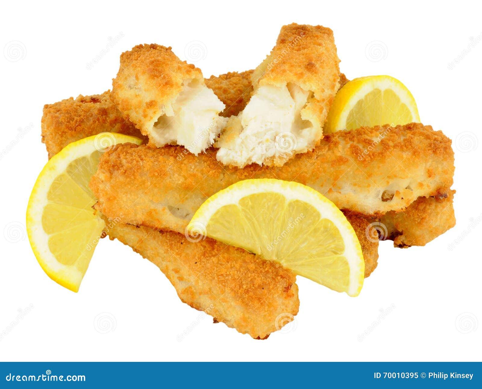 Chunky breadcrumb coated cod fish fingers stock photo for Too cool fishing