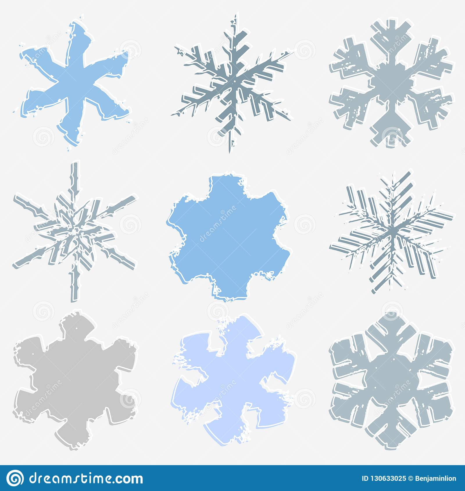 Chunky Marker Snowflakes Set