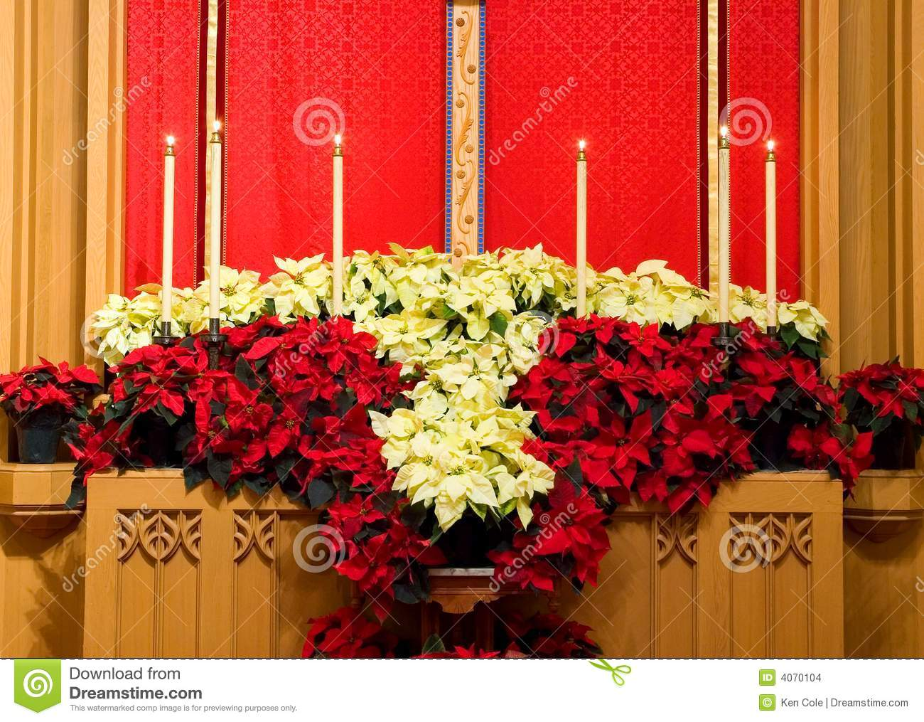 Church Altar With Poinsettias Stock Photo