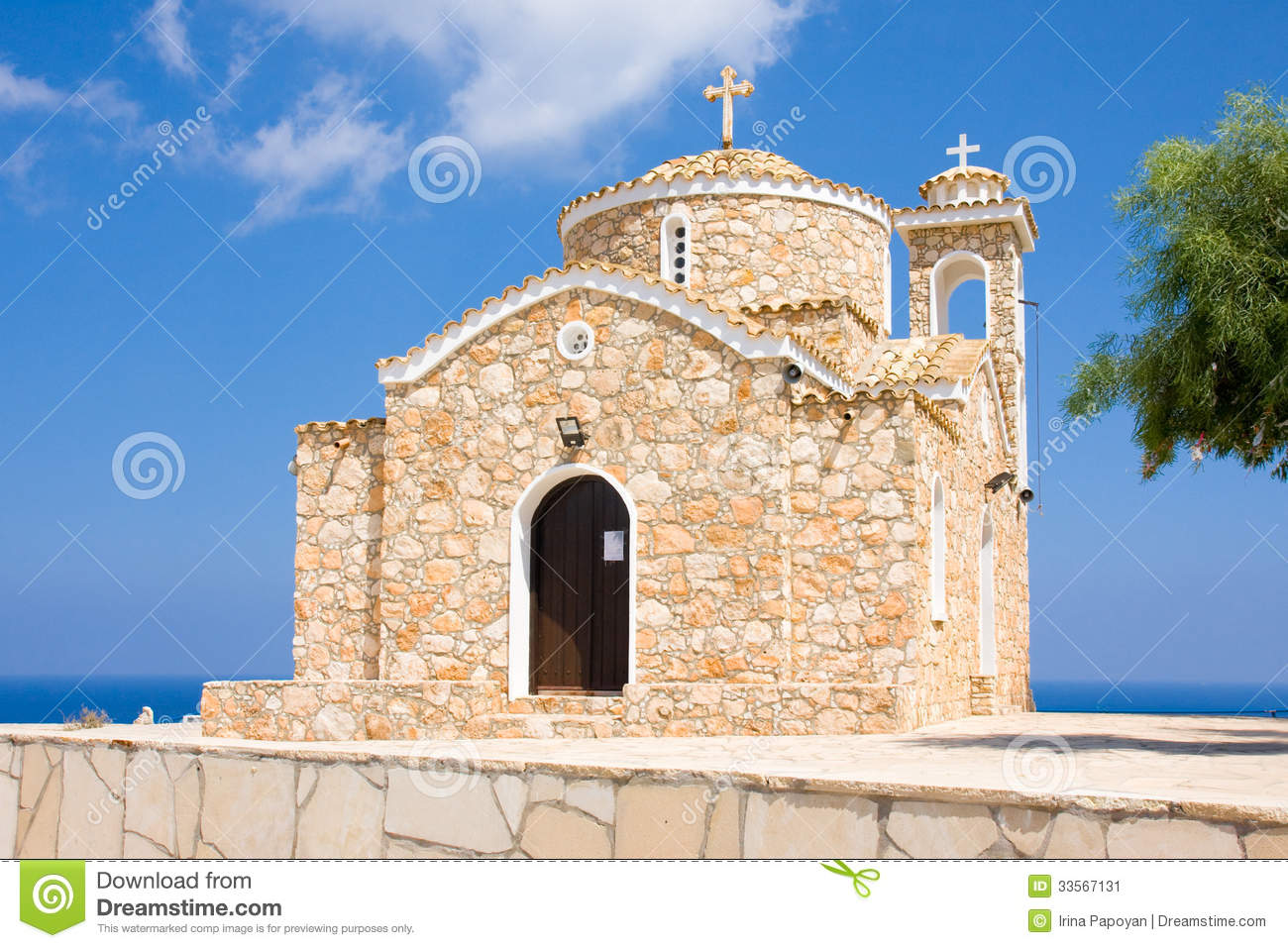 Charming Rock Church Locations #1: Church-ayios-ilias-protaras-famagusta-district-cyprus-ancient-orthodox-temple-xiv-century-top-small-hill-33567131.jpg