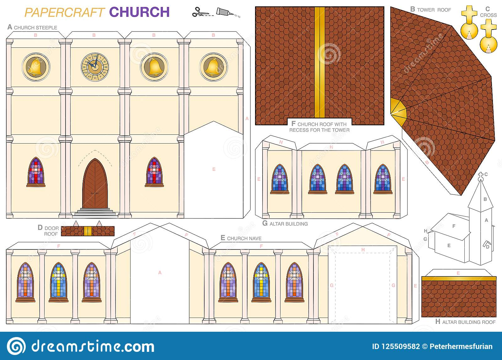 Church building paper craft template stock vector illustration of download church building paper craft template stock vector illustration of glass card 125509582 maxwellsz