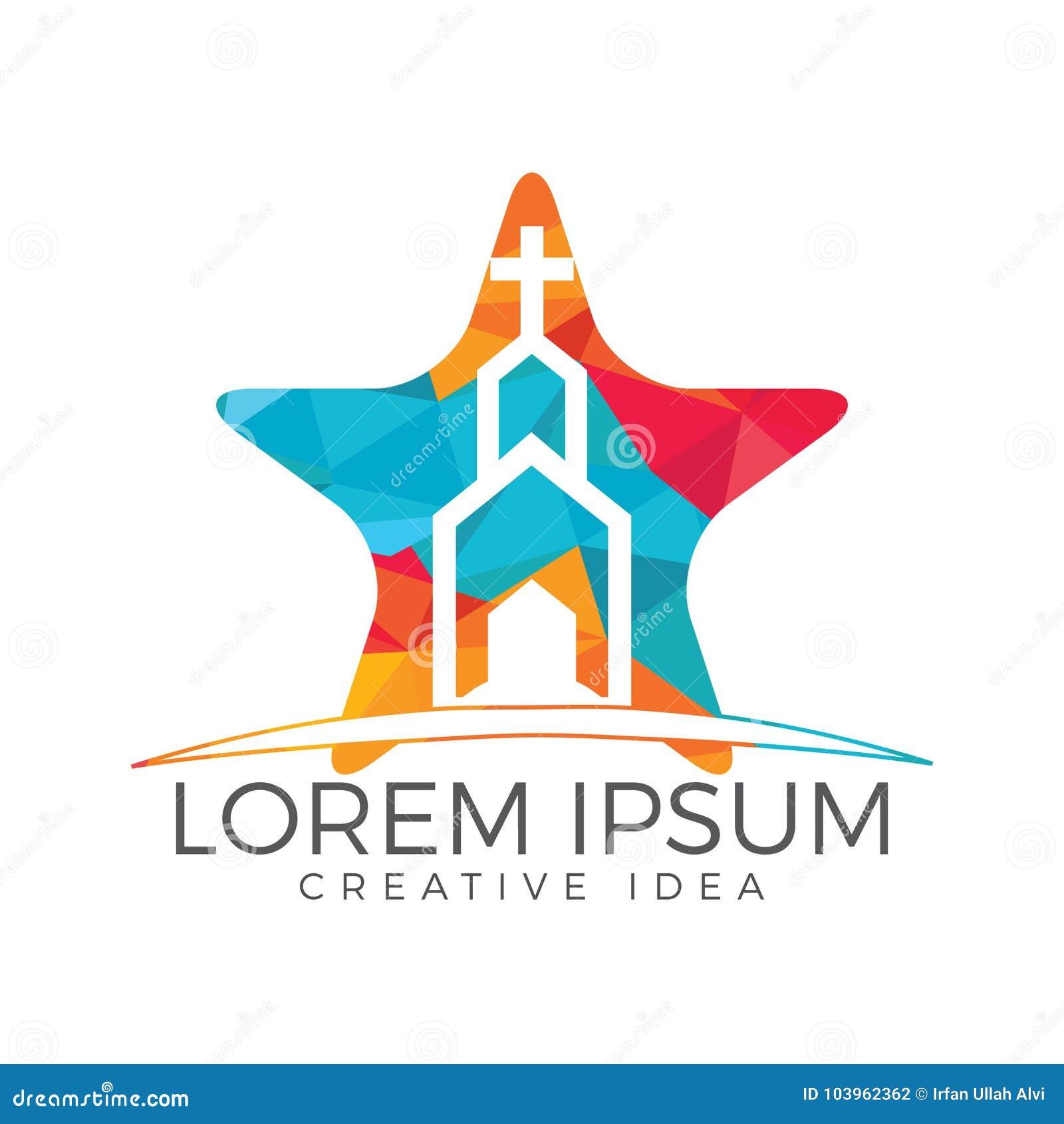 church building star shape logo design stock vector illustration