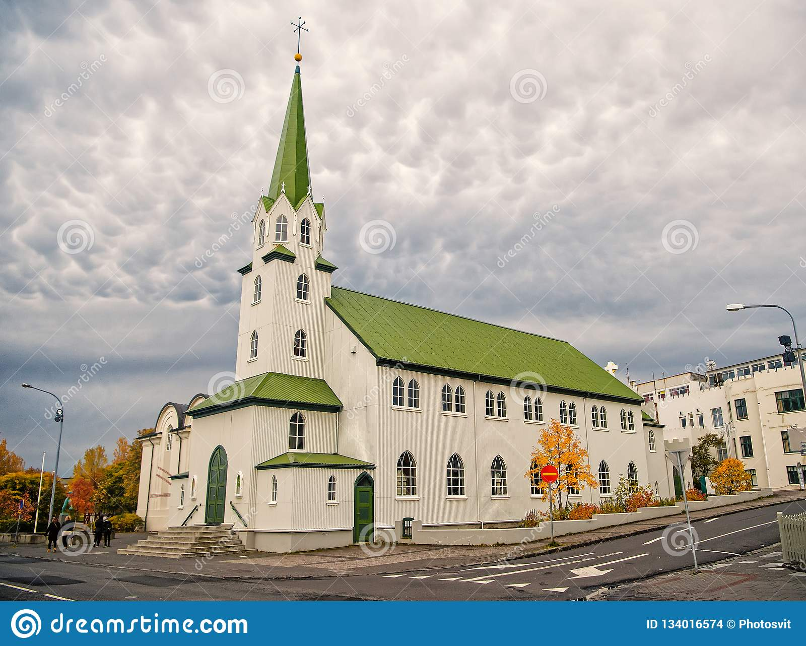 Church building on cloudy sky in Reykjavik, Iceland