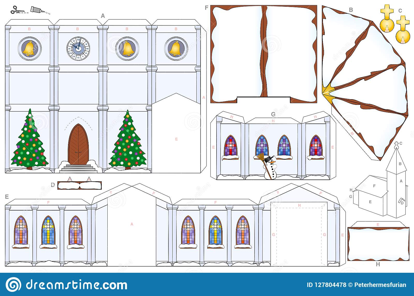 Church Christmas Winter Snow Paper Craft Template Stock Vector