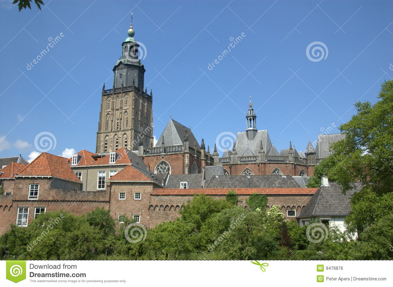 Church and city wall Zutphen