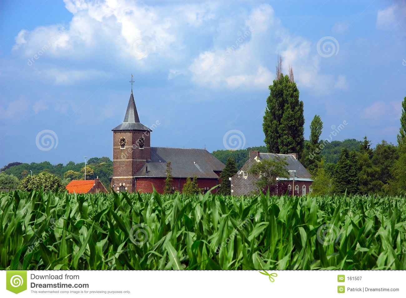 Church in corn field.
