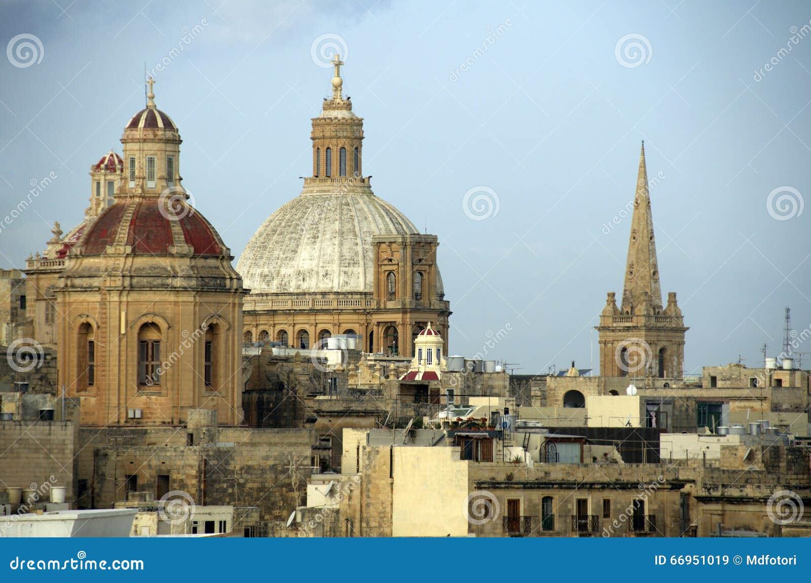 church domes in valletta  malta stock photo