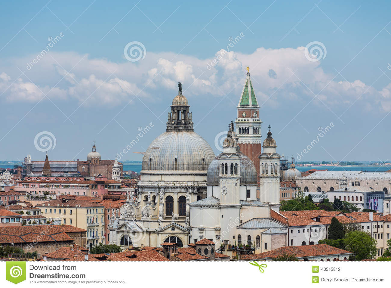 Church Domes In Venice By Saint Marks Tower Stock Photo