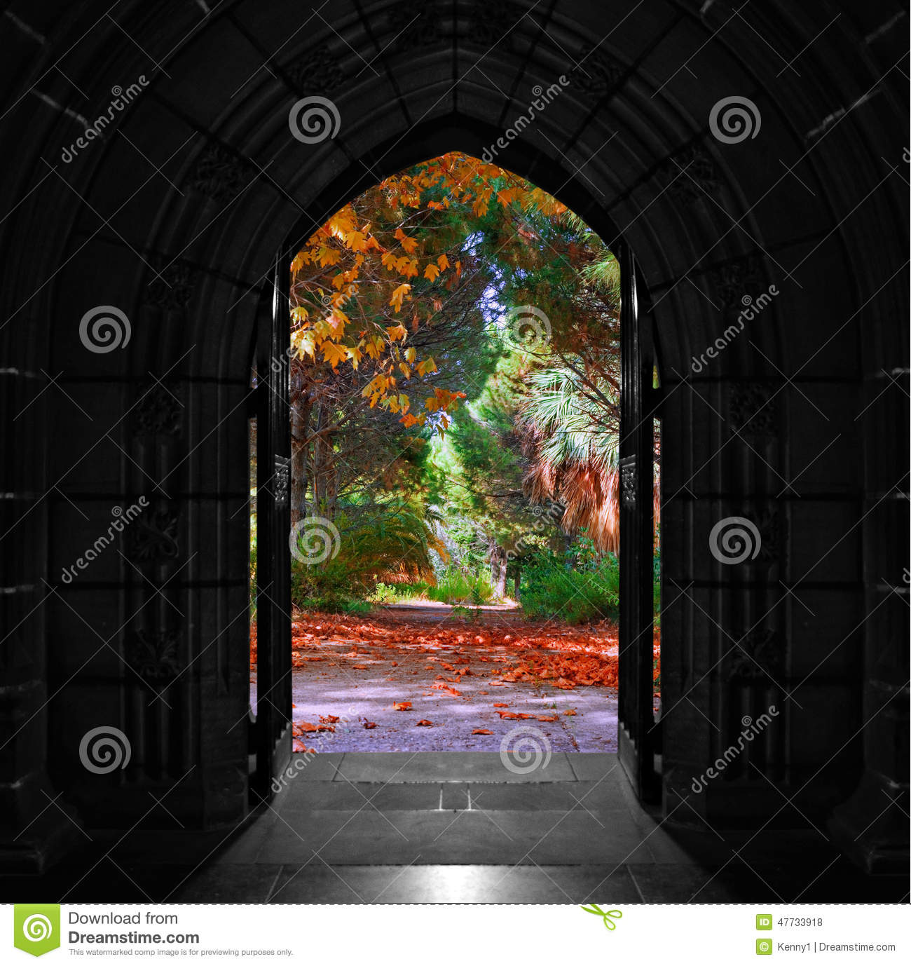 Church Doors Opening Out Onto Beautiful Colorful Forest