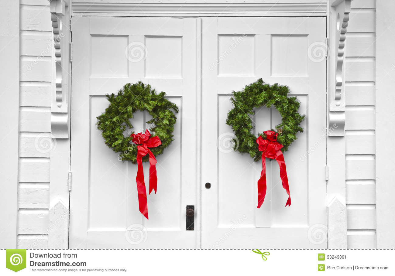 Church Double Door Christmas Wreaths  sc 1 st  Dreamstime.com & Church Double Door Christmas Wreaths Stock Image - Image of green ...