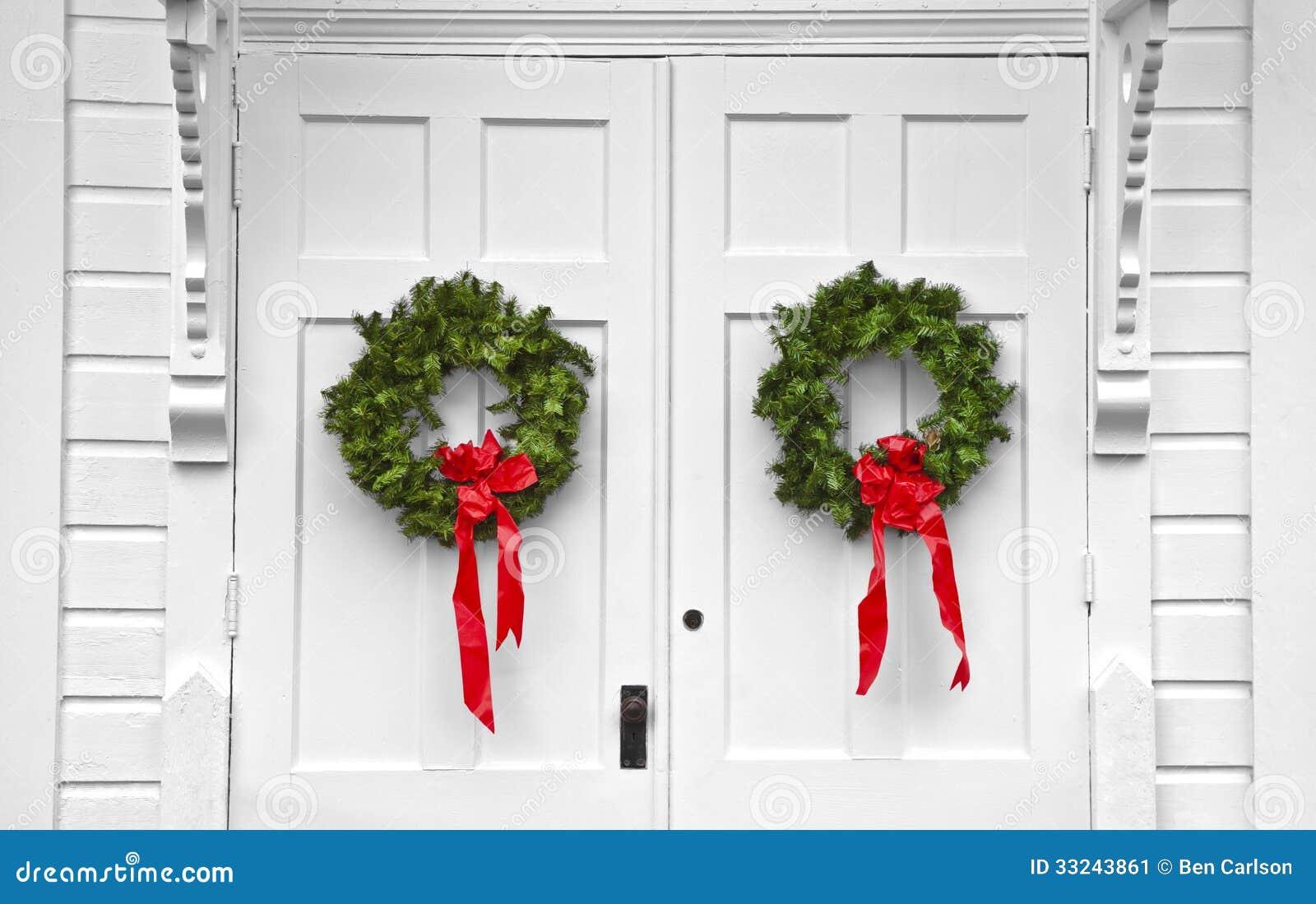Church Double Door Christmas Wreaths Stock Image  Image