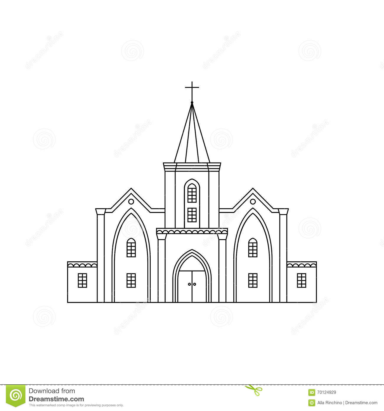 Church Facade Black Line2 Stock Vector Image 70124929