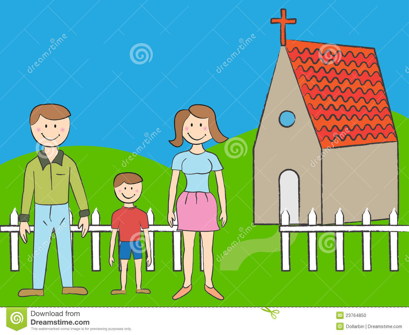 Cartoon family of three with church in background.