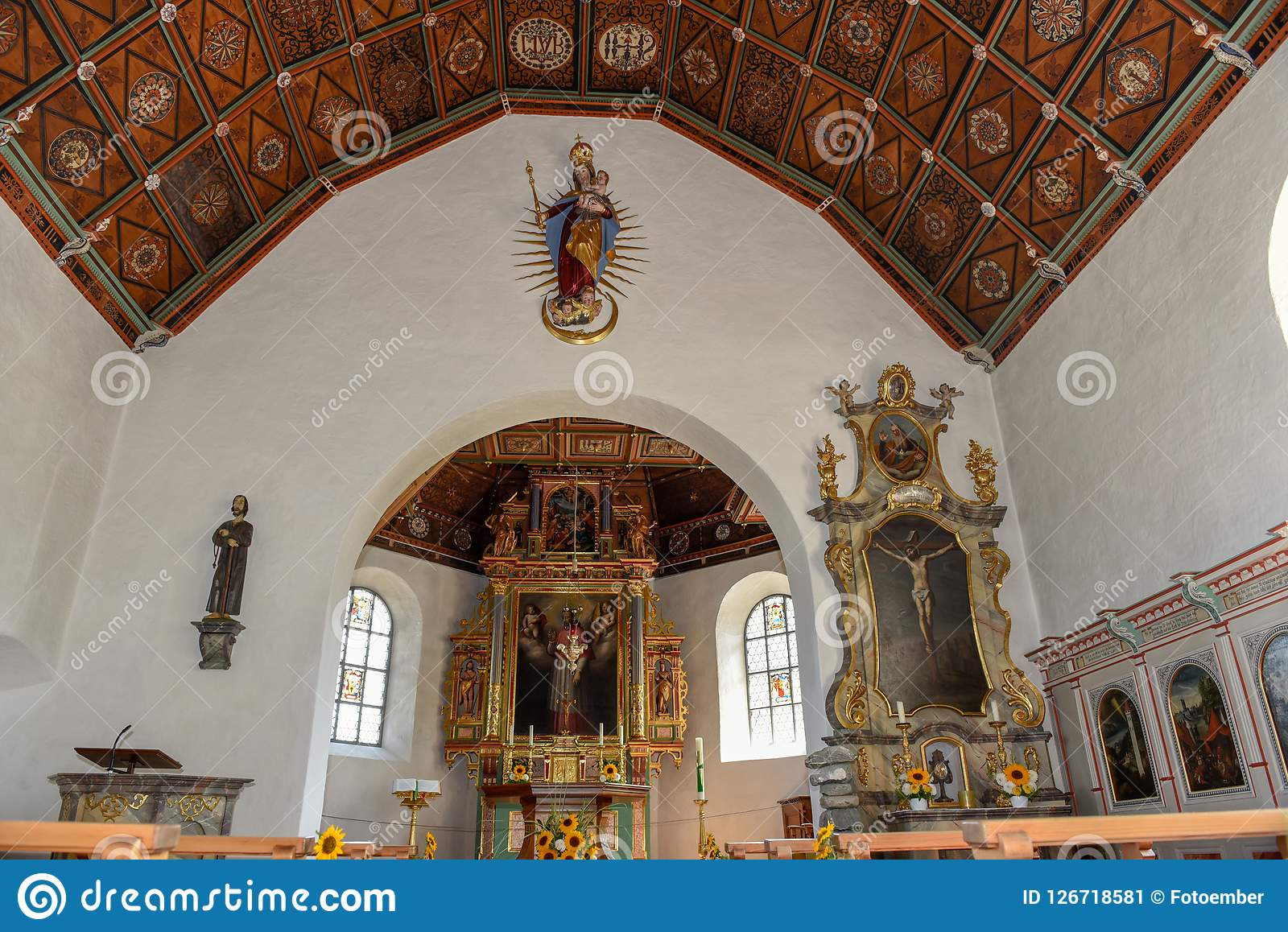 The church of Flüeli-Ranft birth and life place of saint hermit. Niklaus von Flüe on the Swiss alps Stock Image