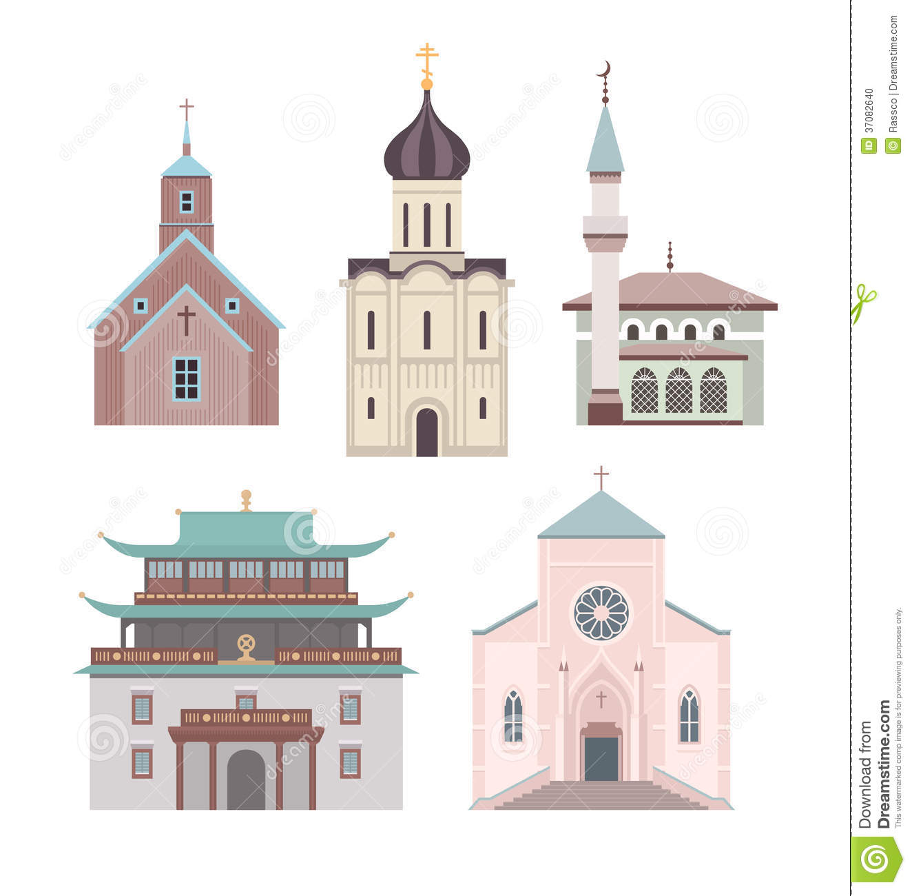 Church flat illustration collection stock photo image for Different building styles