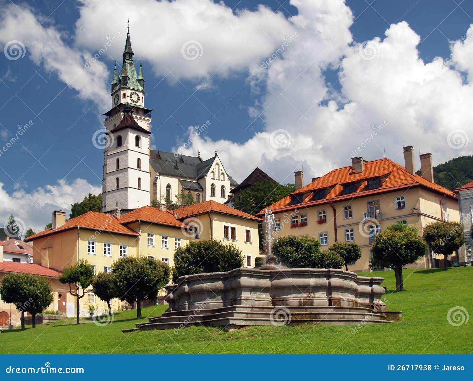 Church and fountain in Kremnica
