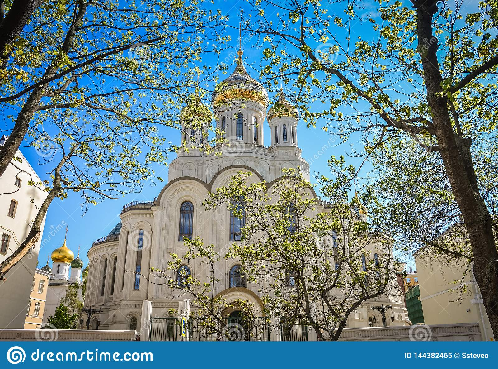 Church with golden domes in the sunlight among trees