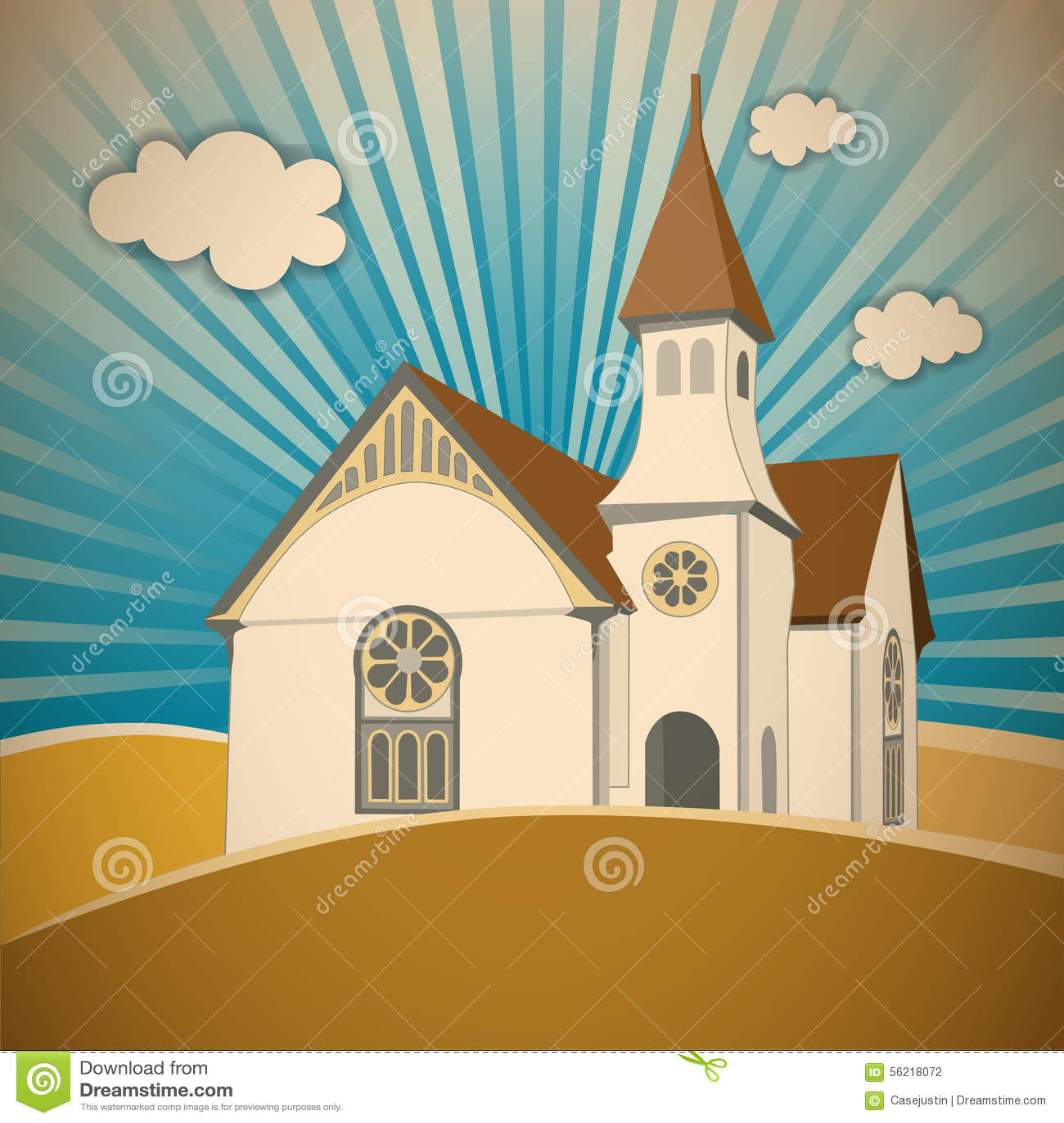 church on the hill stock vector