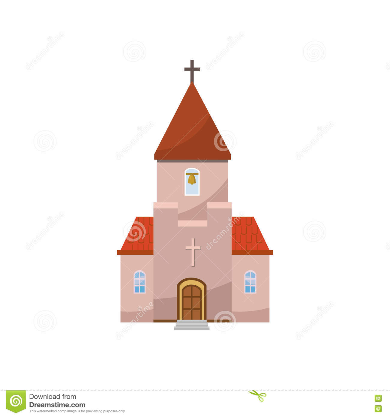 Church Icon In Cartoon Style Stock Vector - Illustration of house ...