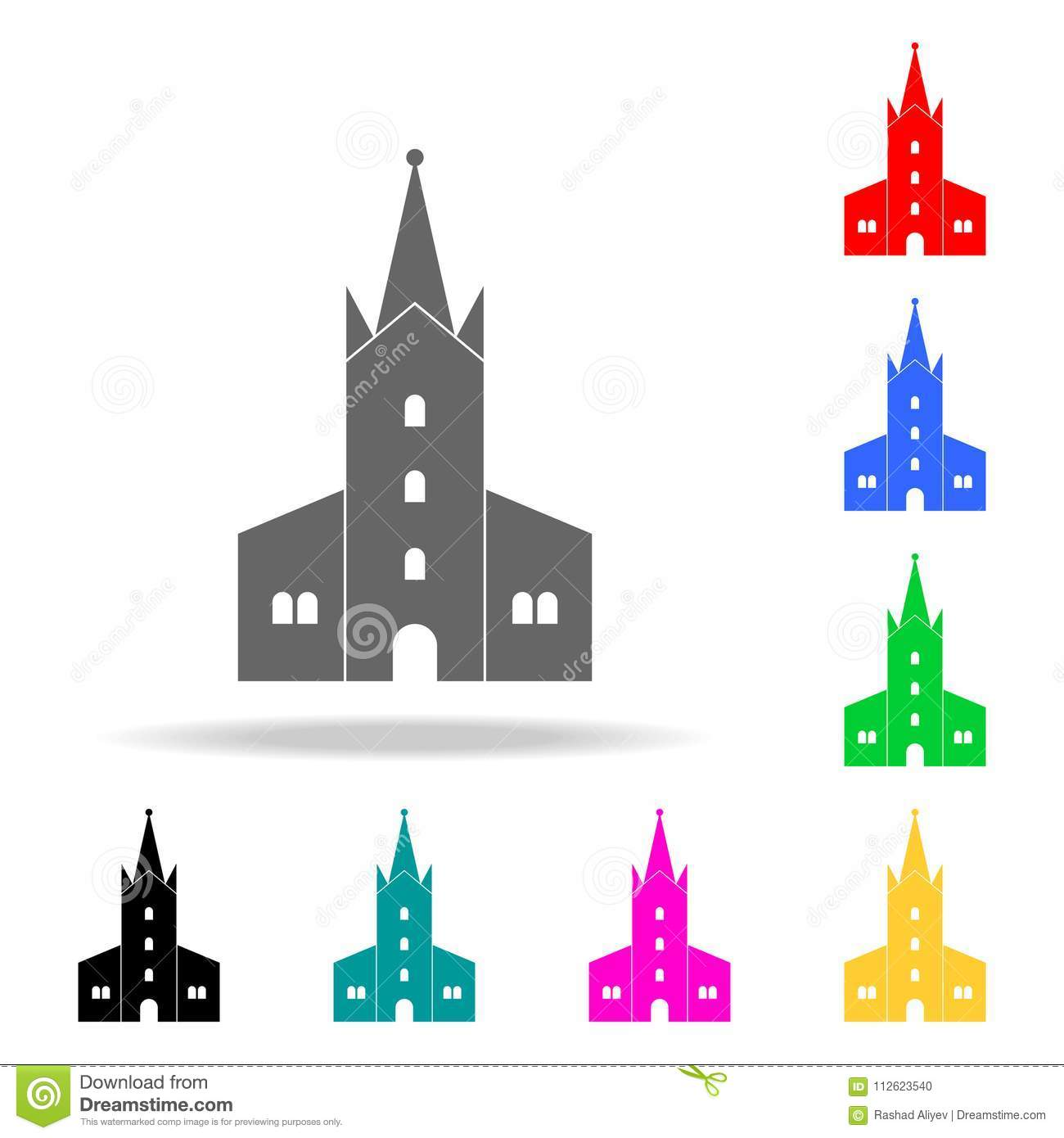 Church Icon  Elements Of Religion Multi Colored Icons