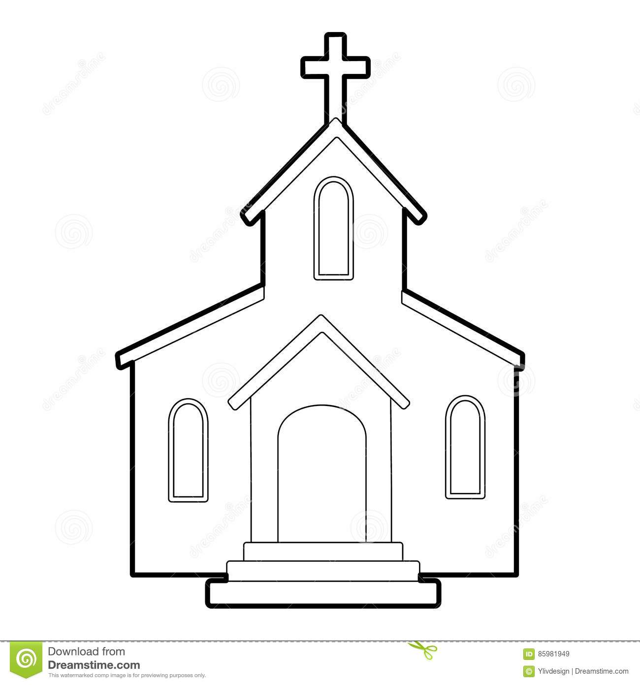 Church icon, outline style stock vector. Illustration of ...