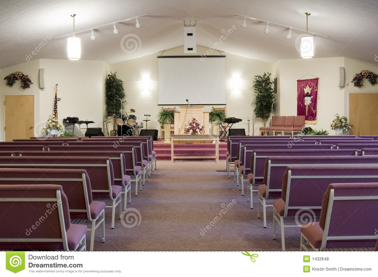 Church interior stock photo image of church lights for Church interior design ideas