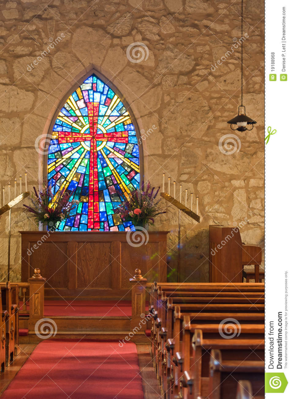 Church Interior with Stained Glass WIndow