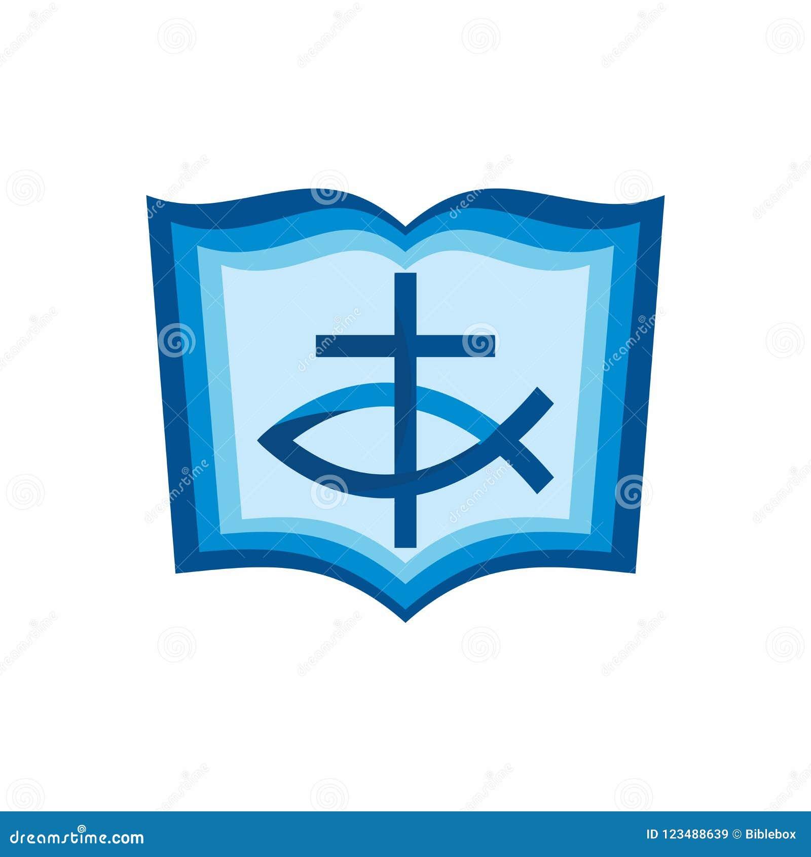 Church Logo Christian Symbols Bible Cross And Jesus Fish Stock