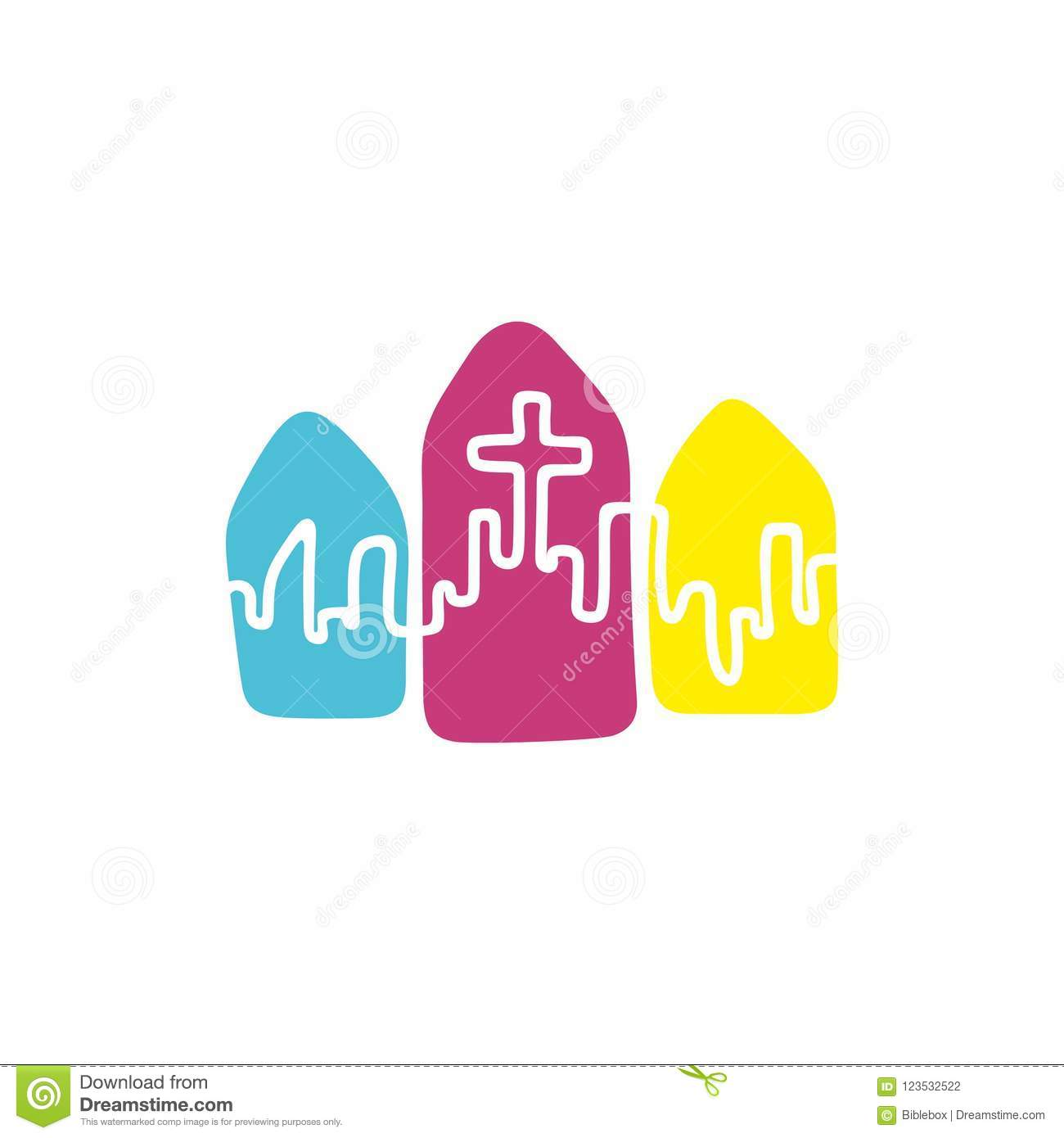Church Logo. Christian Symbols. The City And The Cross Of Jesus ...