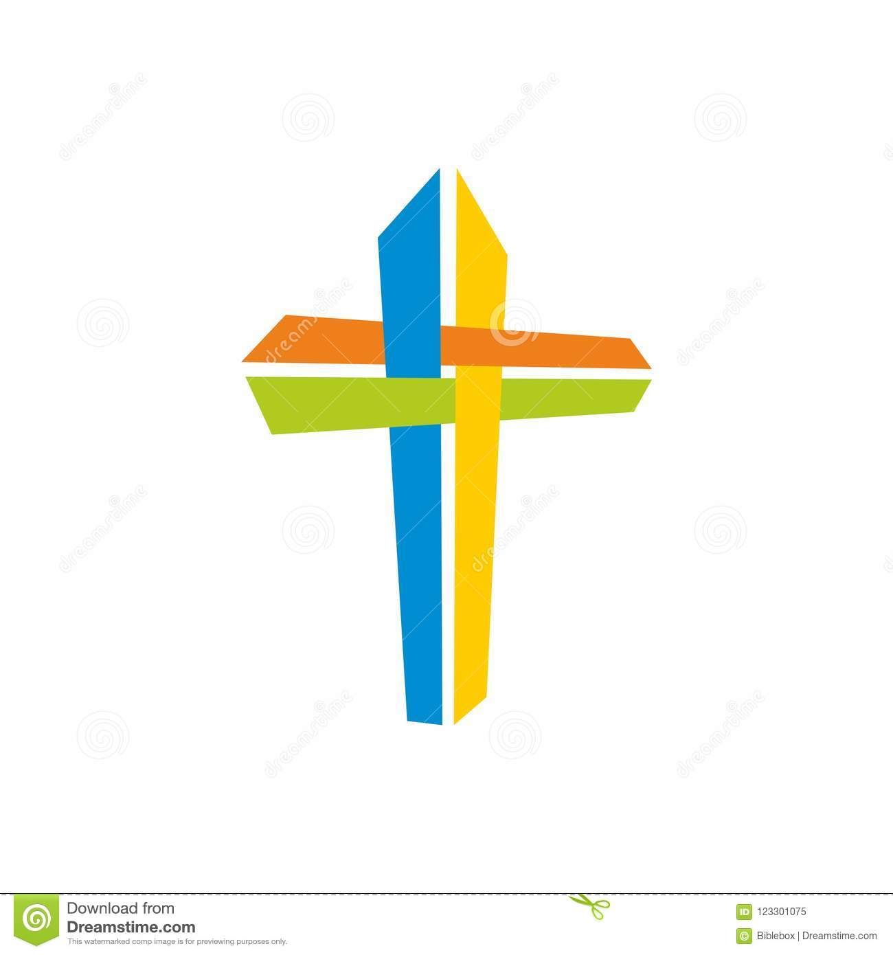 Church Logo Christian Symbols Coloring Jesus Cross Stock Vector