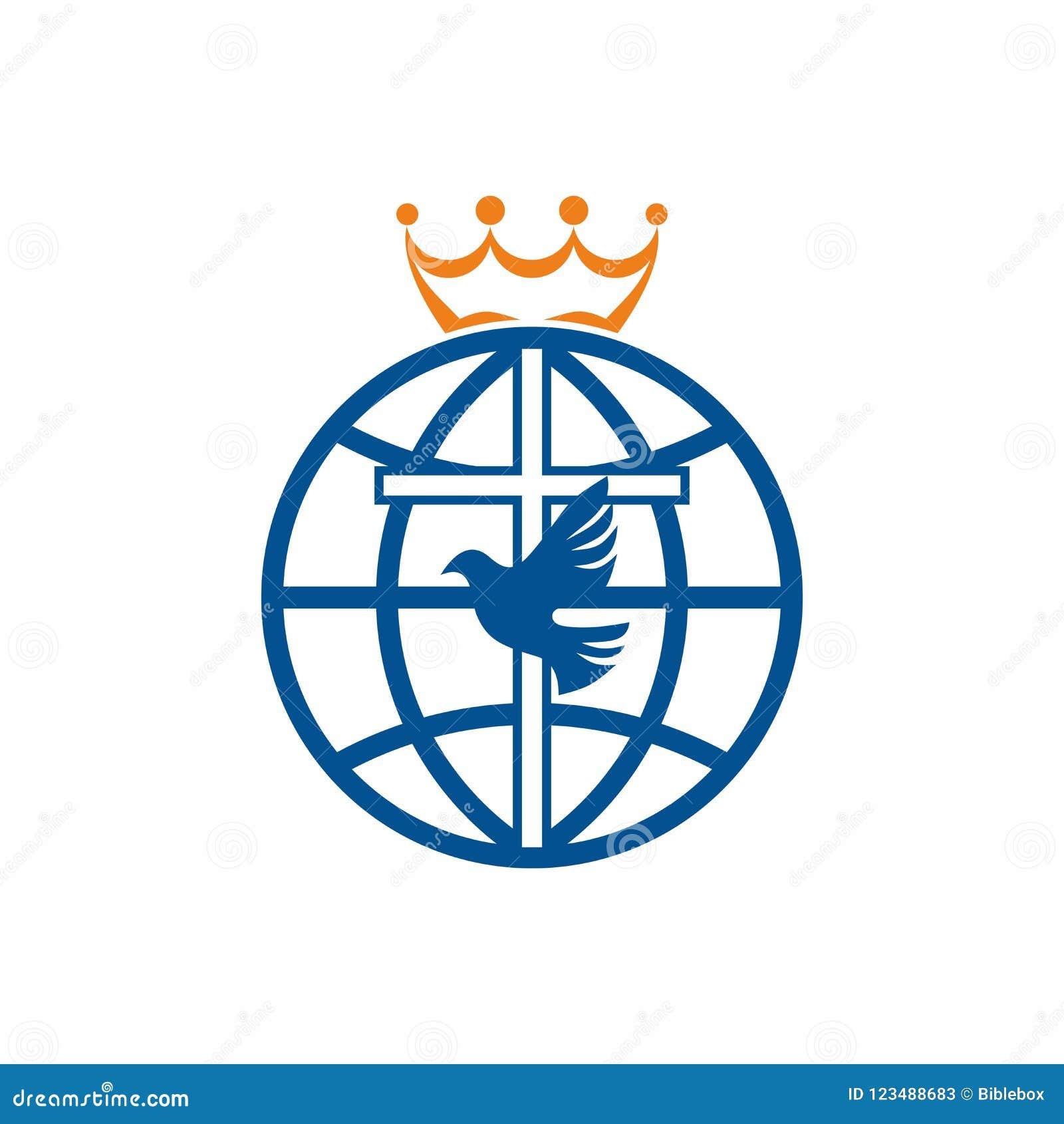 Church Logo Christian Symbols Cross Dove And Globe Stock Vector