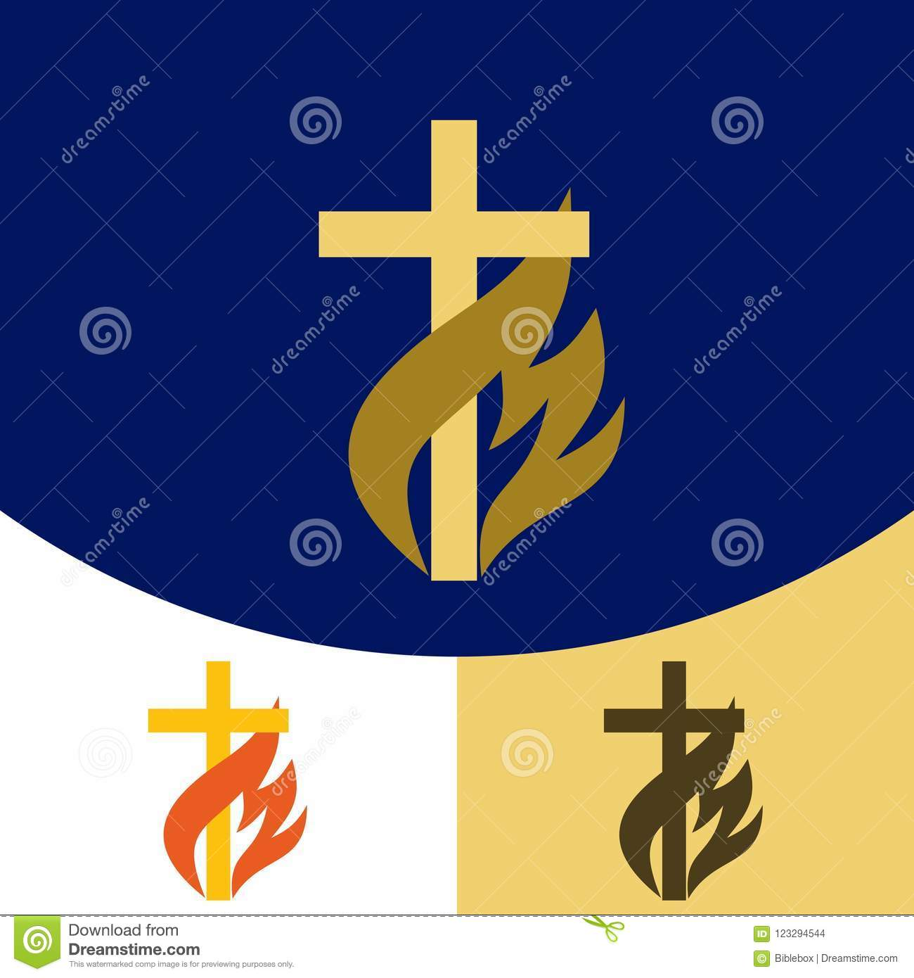 Church Logo Christian Symbols The Cross Of Jesus Christ The Flame