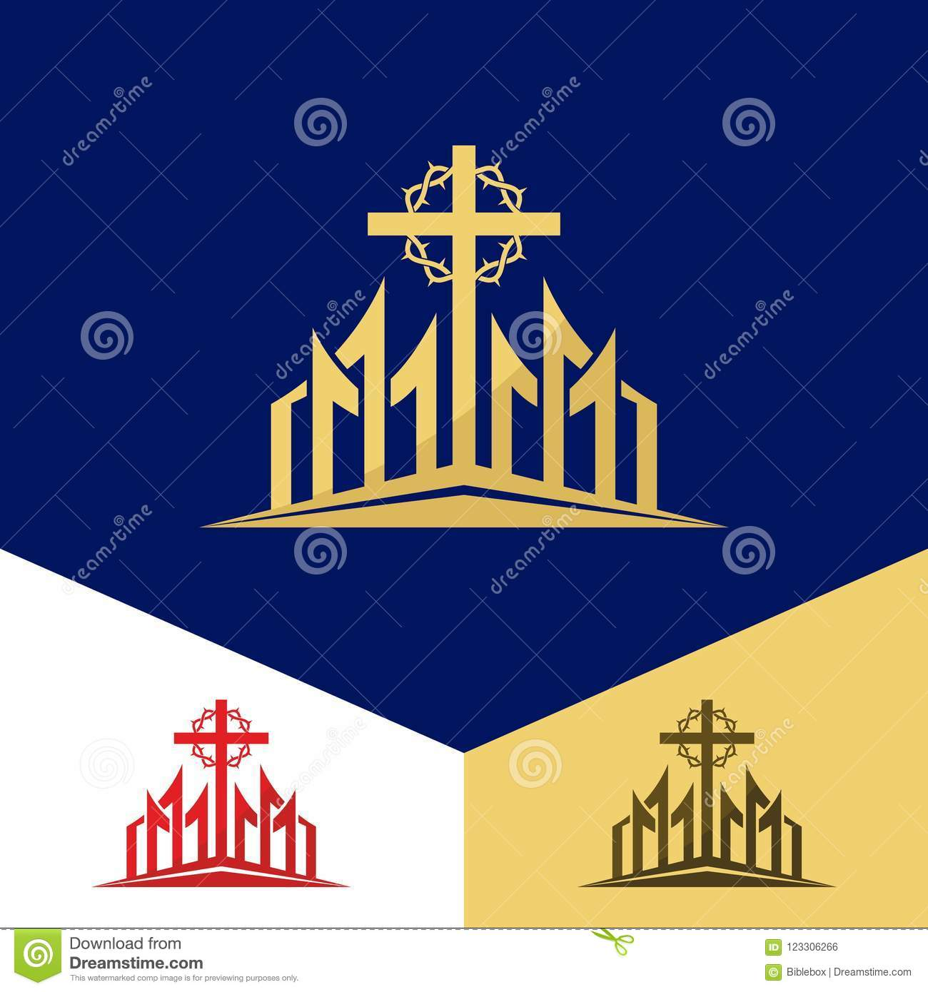 Church Logo Christian Symbols The Cross Of Jesus And The Crown Of