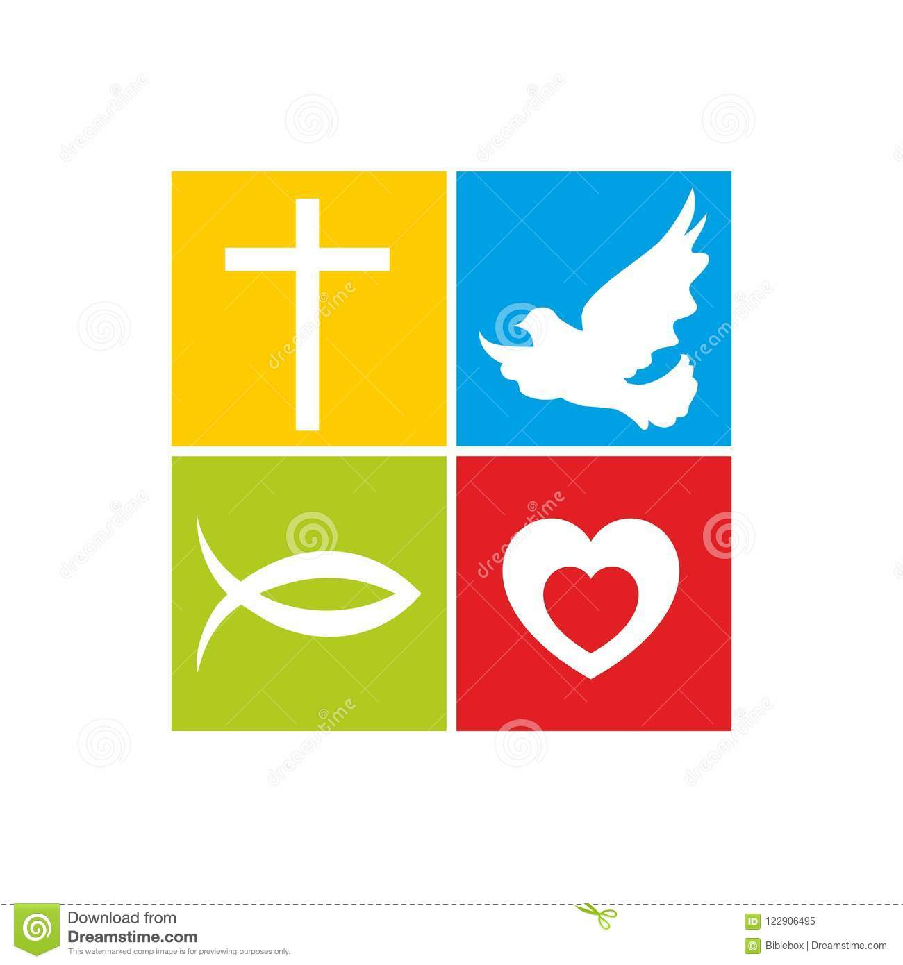 Church Logo Christian Symbols The Cross Of Jesus The Dove Is The