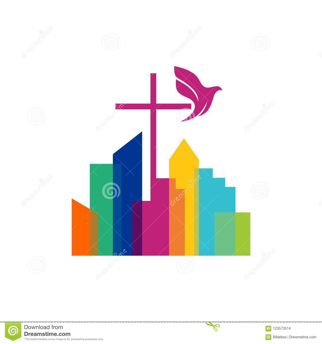 Church Logo Christian Symbols The Cross Of Jesus And The Dove Over