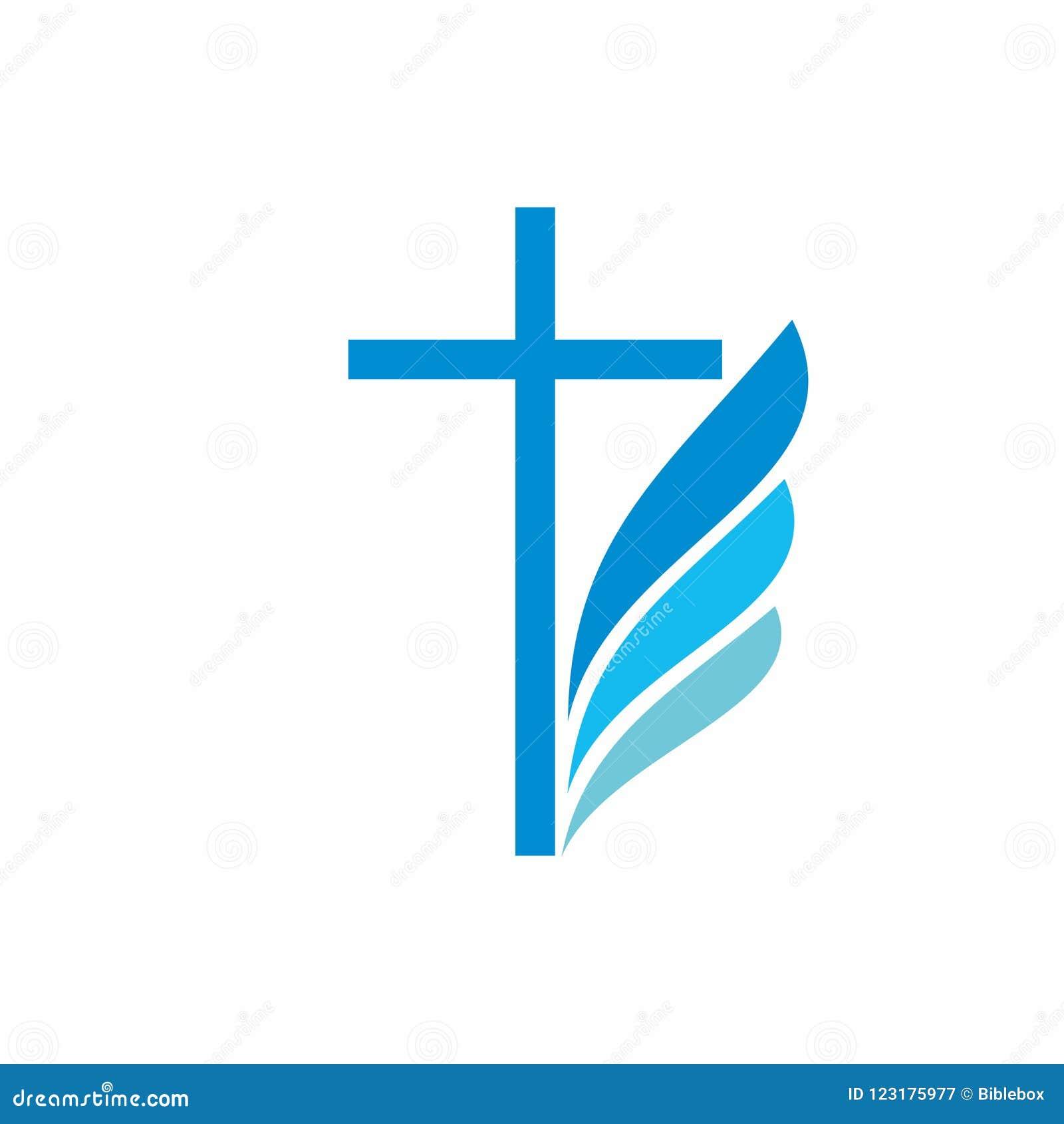 Church Logo Christian Symbols Cross And Wing Stock Vector