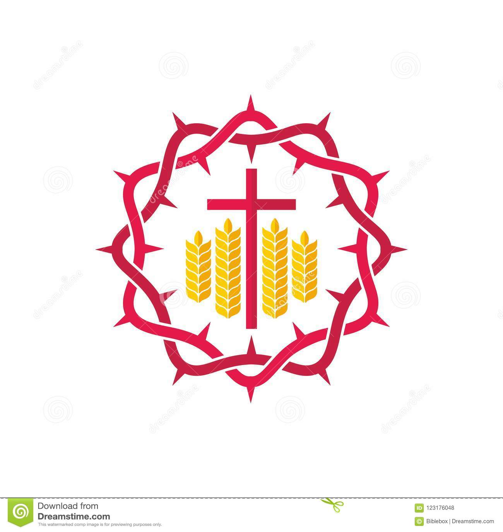 Church Logo Christian Symbols Crown Of Thorns Cross And Wheats