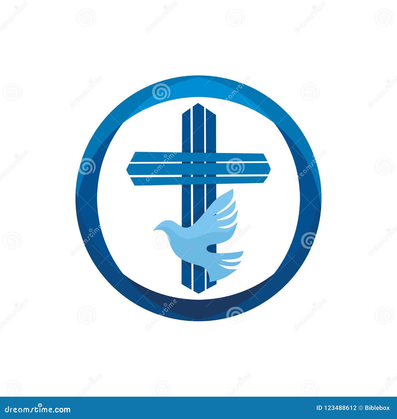 Church Logo Christian Symbols Jesus Cross And Dove The Holy