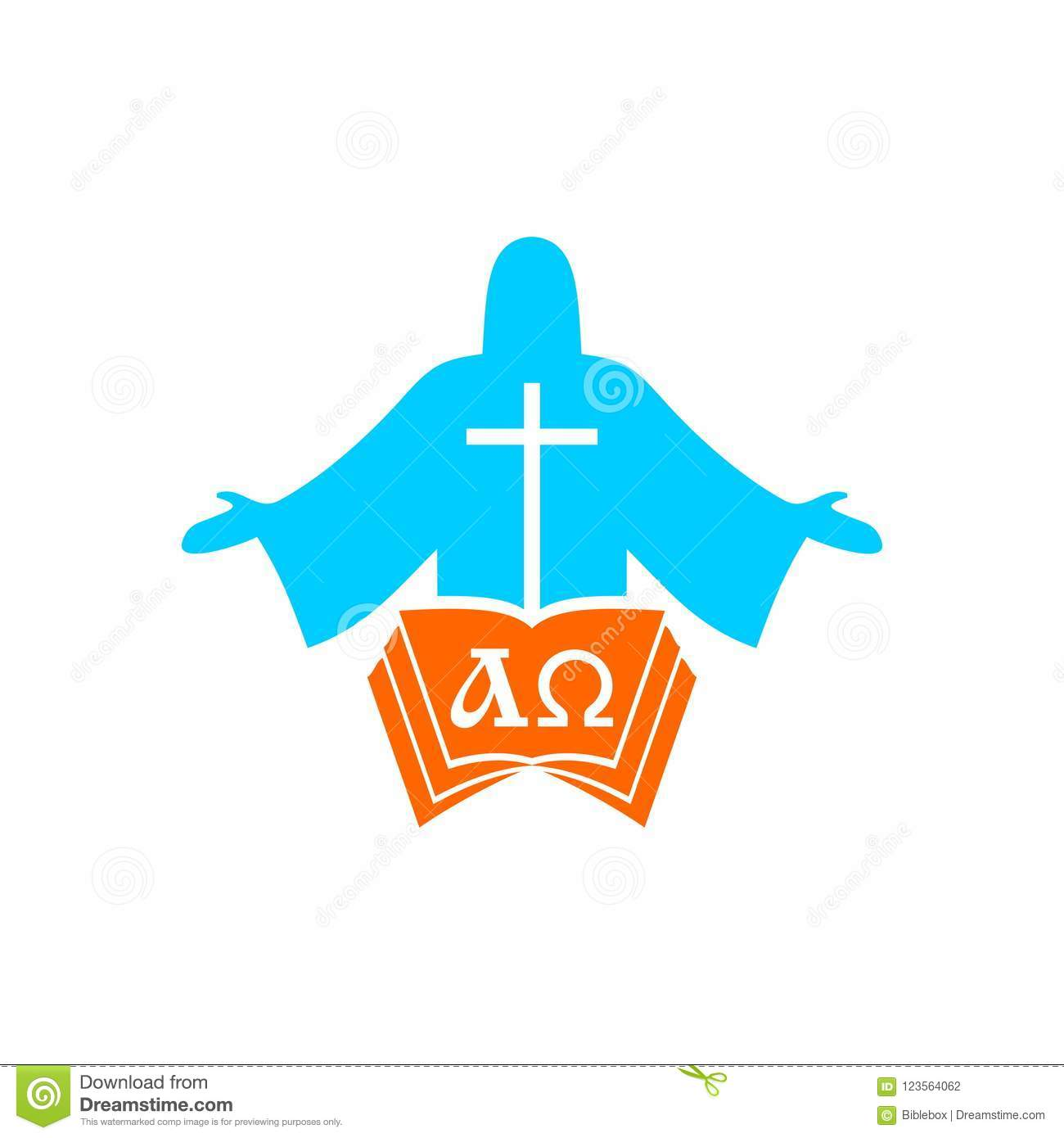 Church logo. Cristian symbols. Jesus Christ, the bible and the letters alpha and omega.