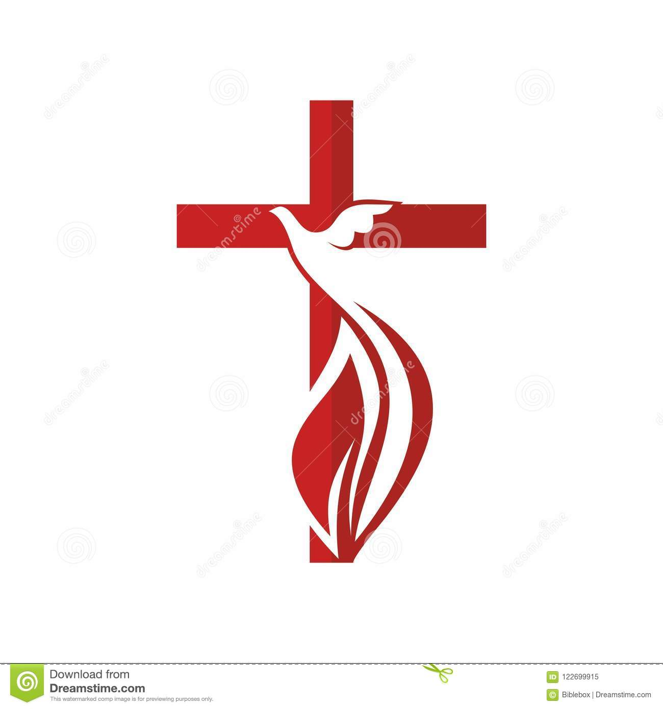 Church Logo  Cross And Dove, Symbol Of The Holy Spirit Stock