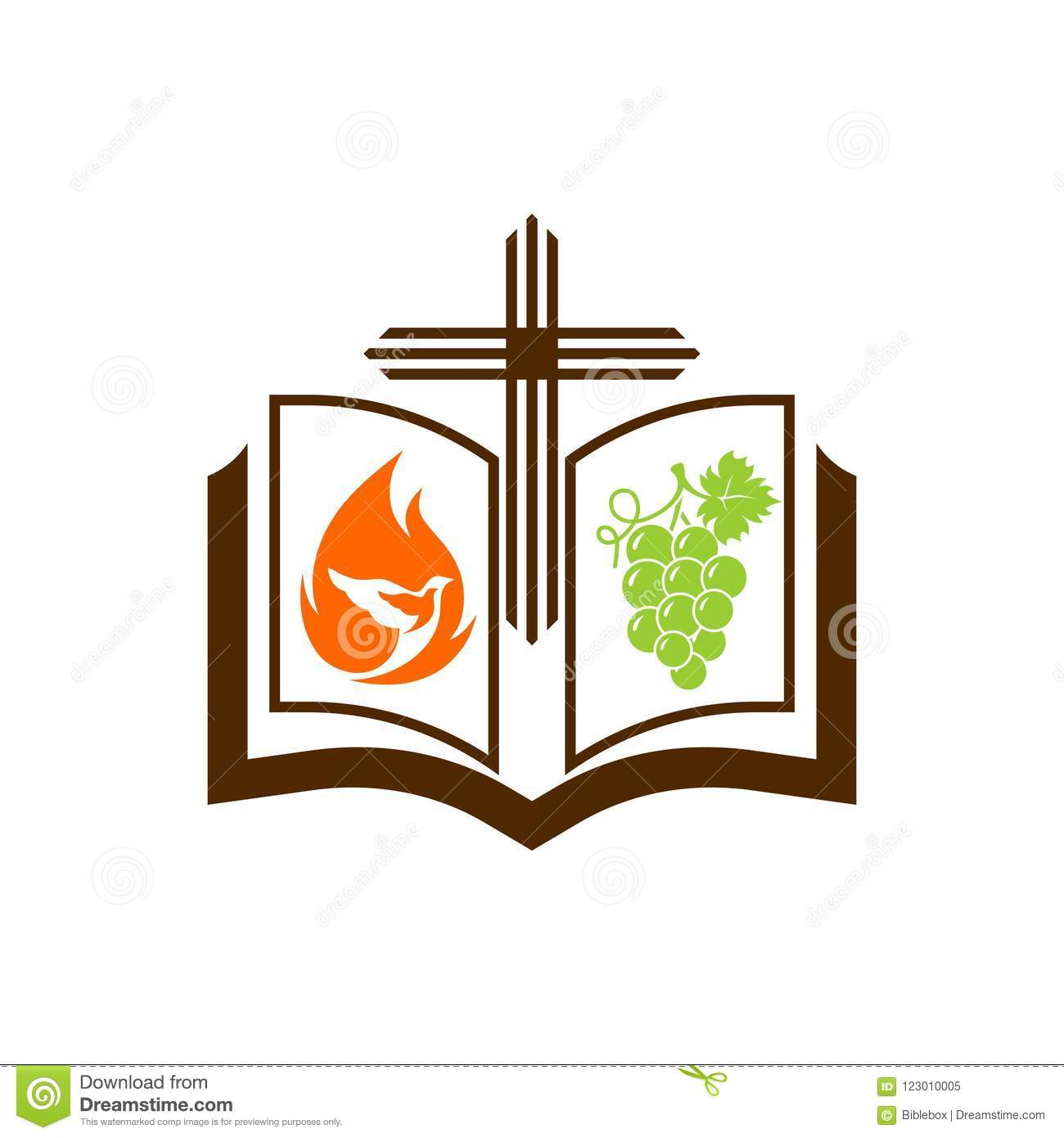 Church Logo  The Cross Of Jesus, The Open Bible, The Pigeon