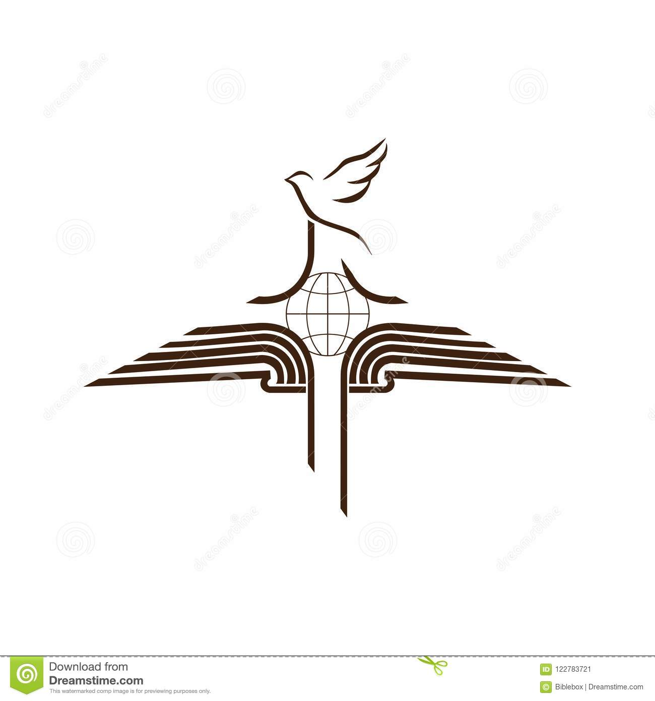 Church Logo The Open Bible The Cross Of Jesus Christ And The Dove