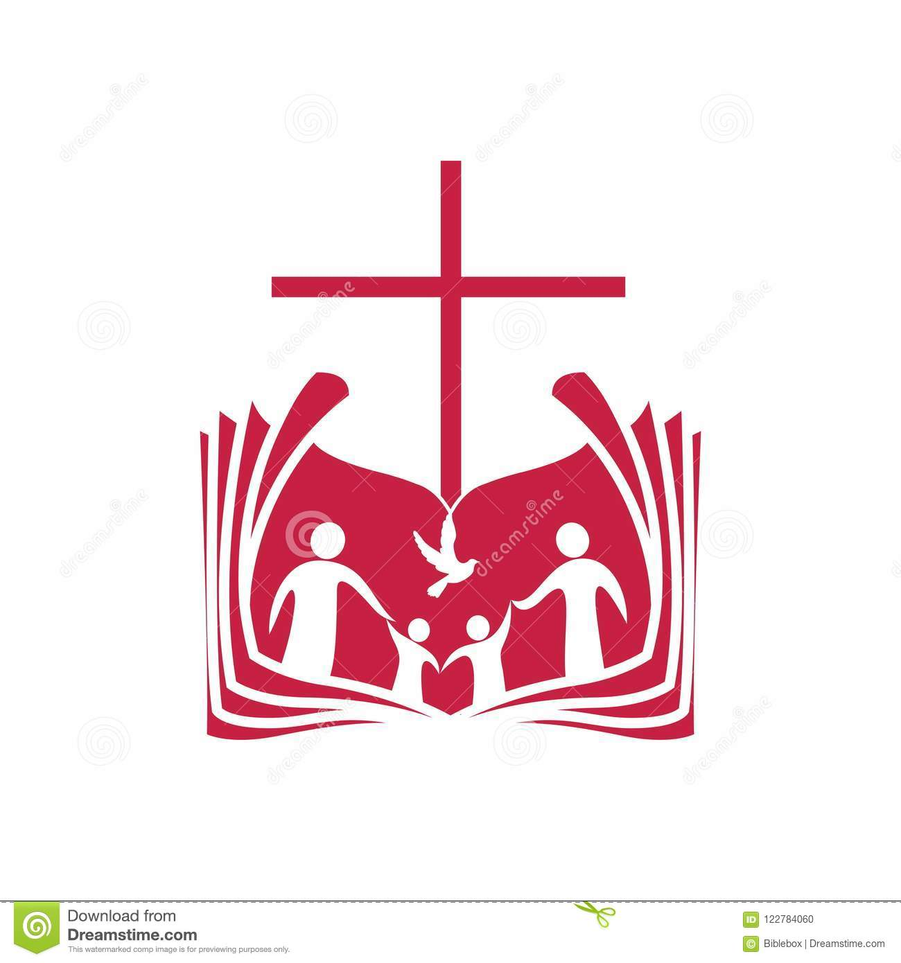 Church Logo. An Open Bible, The Cross Of Jesus Christ And The Family ...