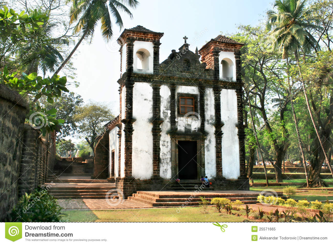Church in Old Goa city stock image  Image of mass, church