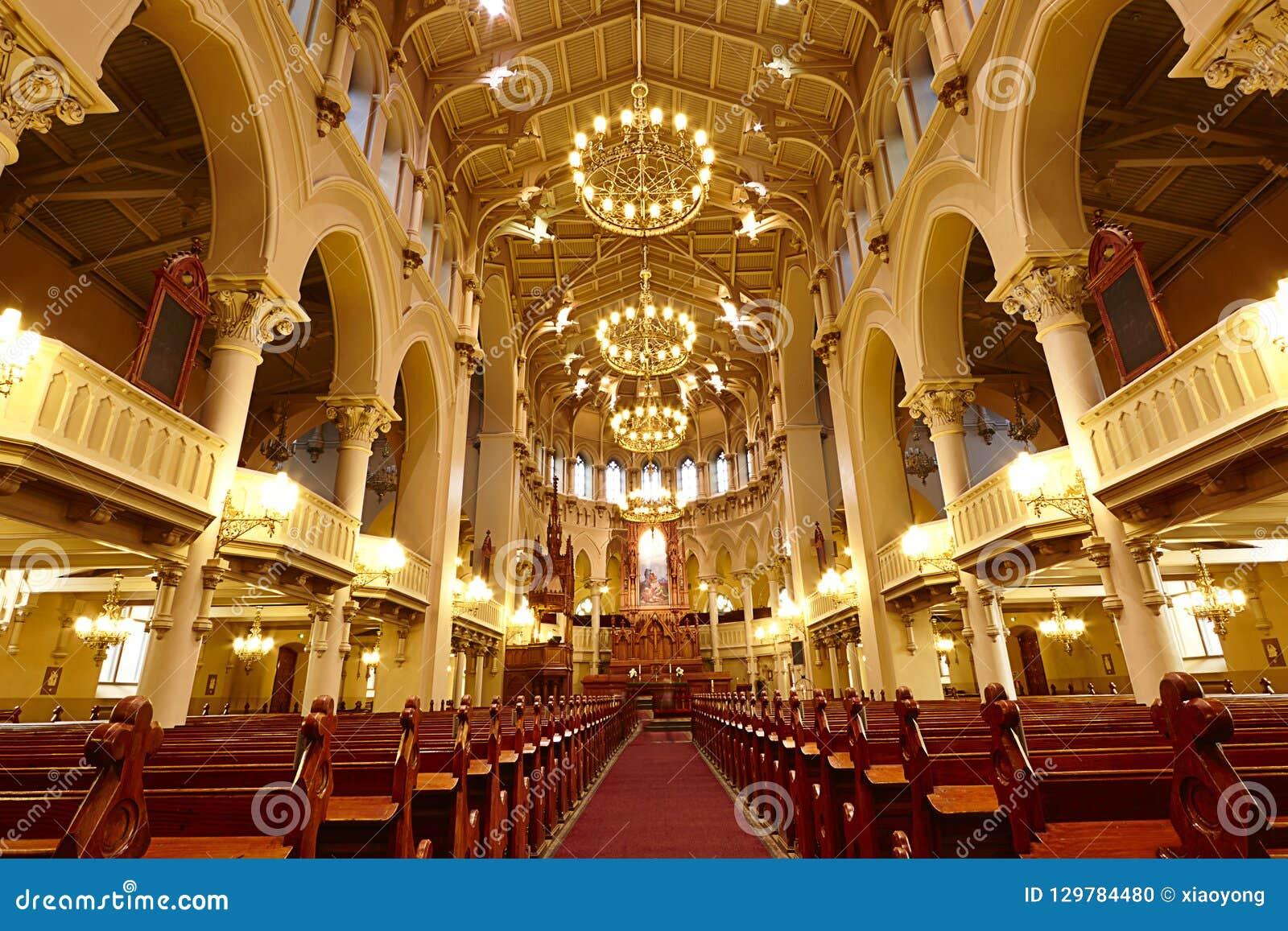 Church in orange atmosphere, Helsinki, Finland