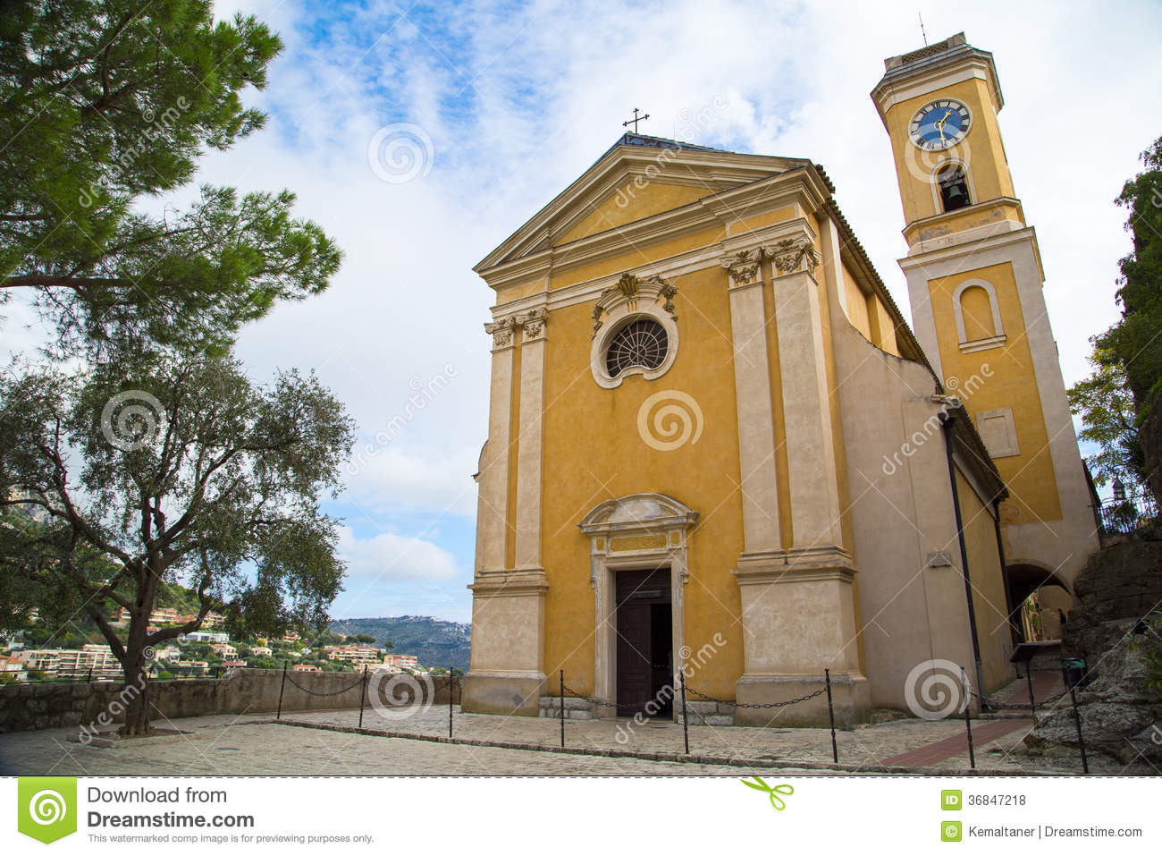 Italian House Plans Church Our Lady Of Assumption In Eze France Royalty Free